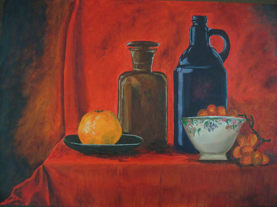 bottles & fruit, 16 x 12 inch, cheryl monis,still life paintings,paintings,canvas,oil,16x12inch,GAL032937943