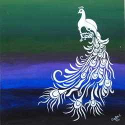 peacock, 18 x 20 inch, chandhini chandrasekar ,art deco paintings,paintings for bedroom,canvas,acrylic color,18x20inch,GAL032867950