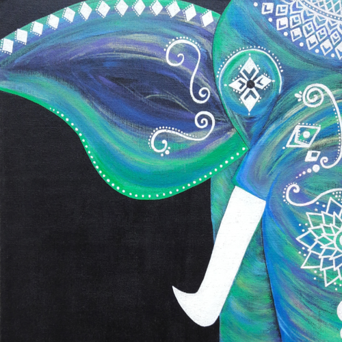 elephant, 14 x 18 inch, chandhini chandrasekar ,animal paintings,paintings for living room,canvas,acrylic color,14x18inch,GAL032867951