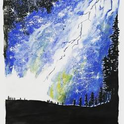 blue thunder., 36 x 28 inch, narendra rana,paintings,conceptual paintings,paintings for living room,paintings for bedroom,paintings for office,paintings for hotel,paper,acrylic color,watercolor,36x28inch,GAL032967953