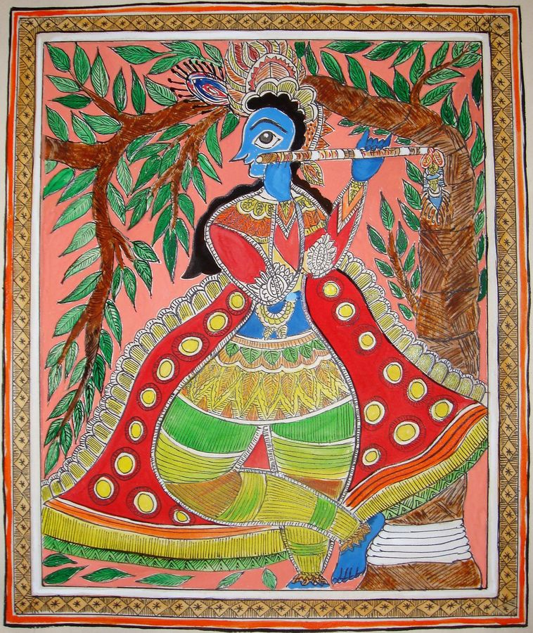 madhubani painting krishna 3, 13 x 11 inch, padmini abrol,folk art paintings,paintings for living room,radha krishna paintings,madhubani paintings,cartridge paper,poster color,13x11inch,GAL031497967,radhakrishna,love,pece,lordkrishna,lordradha,peace,radha,krishna,devotion,couple