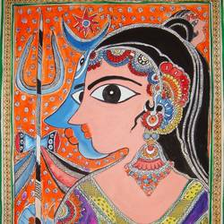 shiva parvati, 13 x 11 inch, padmini abrol,folk art paintings,paintings for living room,lord shiva paintings,cartridge paper,poster color,13x11inch,GAL031497968