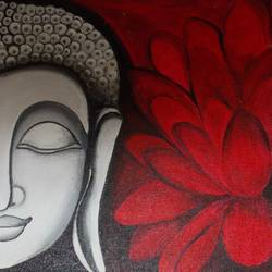 buddha, 8 x 9 inch, shreyasi chakraborty,buddha paintings,paintings for living room,canvas,acrylic color,8x9inch,religious,peace,meditation,meditating,gautam,goutam,buddha,red,flower,lotus,GAL031717970
