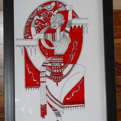 odissi dancer , 13 x 18 inch, shreyasi chakraborty,figurative paintings,paintings for dining room,acrylic glass,glass,13x18inch,GAL031717972