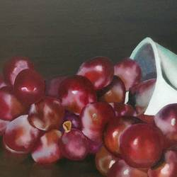 still life with grapes and mug, 22 x 15 inch, dipali deshpande,still life paintings,paintings for dining room,paintings,canvas,oil,22x15inch,GAL01637975
