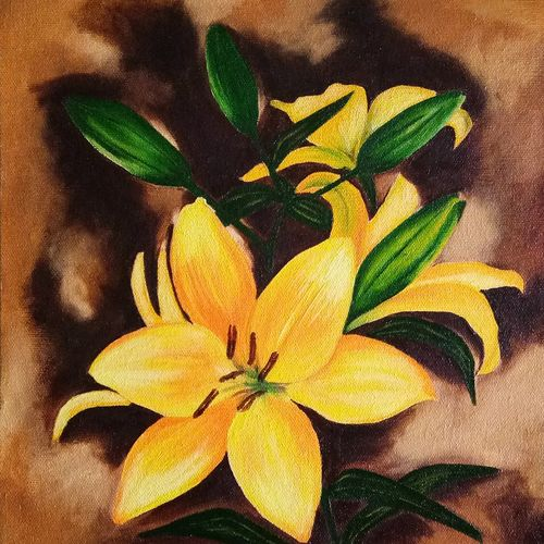 yellow lilies, 10 x 14 inch, cheryl monis,paintings for living room,paintings,flower paintings,canvas,oil,10x14inch,GAL032937979