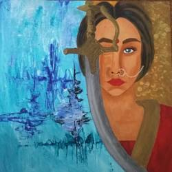 warrior princess, 12 x 12 inch, vaishali patil,abstract paintings,paintings for living room,canvas board,acrylic color,12x12inch,GAL033027982