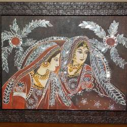 rajasthani ladies, 19 x 15 inch, shreyasi chakraborty,folk art paintings,paintings for bedroom,canvas,mixed media,19x15inch,GAL031717985