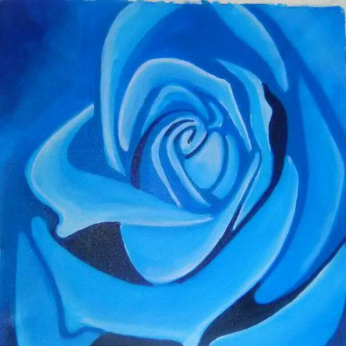 blue rose, 20 x 20 inch, narasimhaa billa,flower paintings,paintings for living room,canvas,acrylic color,20x20inch,GAL033047986