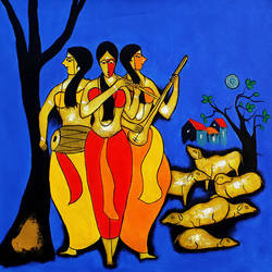 musical night, 48 x 25 inch, chetan katigar,figurative paintings,paintings for living room,canvas,acrylic color,48x25inch,GAL02667987