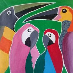 colorful birds, 22 x 22 inch, narasimhaa billa,abstract paintings,paintings for living room,canvas,acrylic color,22x22inch,GAL033047990