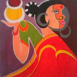 lavish lady, 20 x 20 inch, narasimhaa billa,figurative paintings,paintings for living room,canvas,acrylic color,20x20inch,GAL033047991