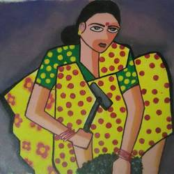 lady working, 20 x 20 inch, narasimhaa billa,figurative paintings,paintings for living room,canvas,acrylic color,20x20inch,GAL033047992