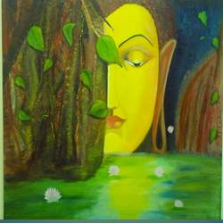 buddha, 24 x 30 inch, ambika srivastava,paintings for dining room,buddha paintings,canvas,oil,24x30inch,religious,peace,meditation,meditating,gautam,goutam,buddha,tree,yellow,side face,pond,green,side face,GAL032637998
