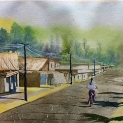 an urban road, 21 x 14 inch, dipankar  biswas,landscape paintings,paintings for living room,handmade paper,watercolor,21x14inch,GAL029327999