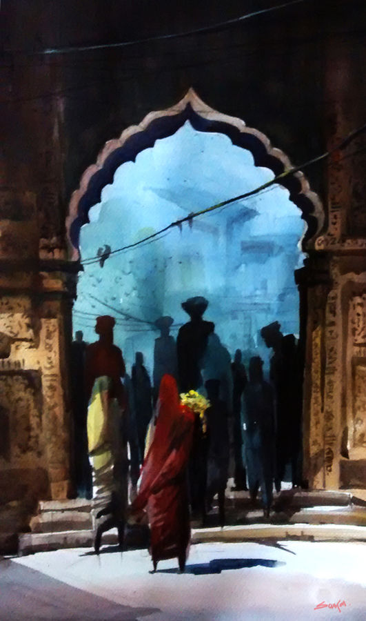 blue city god, 22 x 15 inch, sankar thakur,landscape paintings,paintings for living room,fabriano sheet,watercolor,22x15inch,GAL0780
