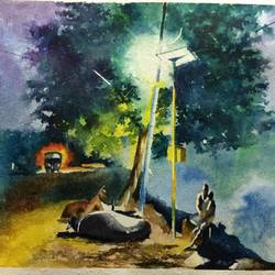untitled, 21 x 14 inch, dipankar  biswas,landscape paintings,paintings for living room,horizontal,handmade paper,watercolor,21x14inch,GAL029328000