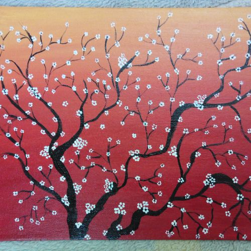 cherry blossom, 10 x 10 inch, shanmuga rajan,flower paintings,paintings for office,canvas,acrylic color,10x10inch,GAL033298014
