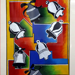 the jingle bells, 24 x 38 inch, yutee gupta,paintings for bedroom,modern art paintings,ply board,acrylic color,24x38inch,GAL033308018