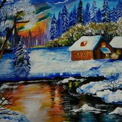 winter landscape, 8 x 12 inch, sonali tompe,landscape paintings,paintings for living room,canvas,acrylic color,8x12inch,GAL032318025