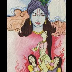 krishna radha, 8 x 11 inch, vandana varma,radha krishna paintings,paintings for dining room,brustro watercolor paper,watercolor,8x11inch,GAL033428030,radhakrishna,love,pece,lordkrishna,lordradha,peace,radha,krishna,devotion,couple