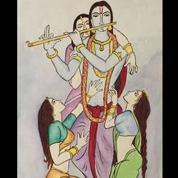 krishna radhe, 8 x 11 inch, vandana varma,radha krishna paintings,paintings for dining room,brustro watercolor paper,watercolor,8x11inch,GAL033428031,radha,krishna,love,goips,flute,music,lord,peace