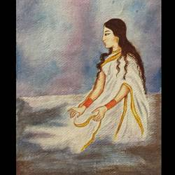 woman sea, 14 x 19 inch, vandana varma,portrait paintings,paintings for living room,brustro watercolor paper,watercolor,14x19inch,GAL033428033