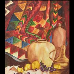 still life with fruits and pot, 20 x 14 inch, vandana varma,still life paintings,paintings for dining room,brustro watercolor paper,watercolor,20x14inch,GAL033428035