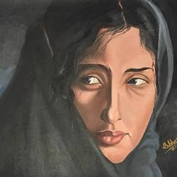 manisha koirala, 18 x 16 inch, subhash gijare,portrait paintings,paintings for living room,canvas,oil,18x16inch,GAL01388037
