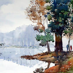 morning mood, 21 x 15 inch, raji p,landscape paintings,paintings for living room,canson paper,watercolor,21x15inch,GAL05908038