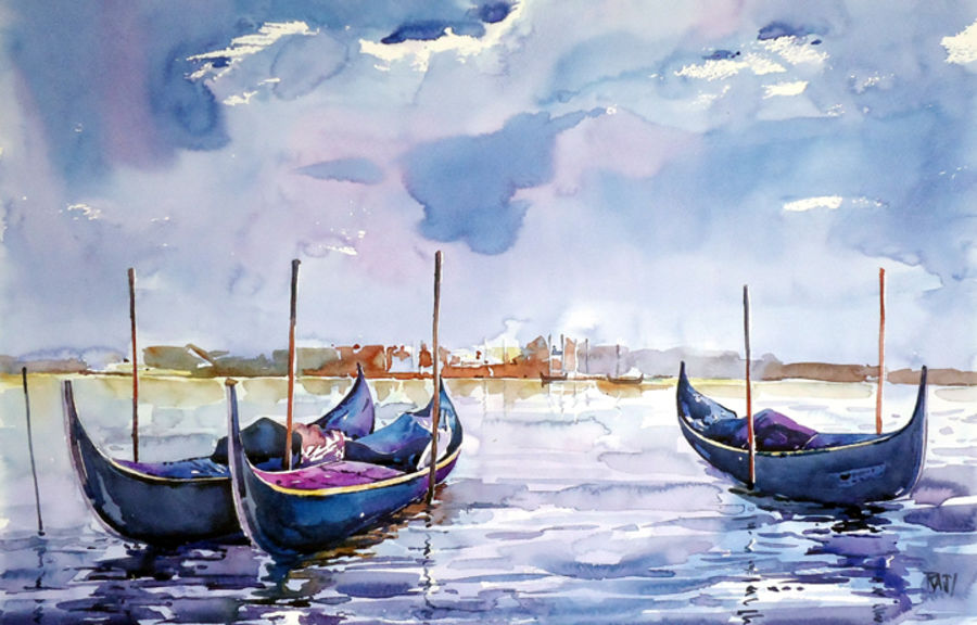 ready to go, 12 x 15 inch, raji p,landscape paintings,paintings for living room,canson paper,watercolor,12x15inch,GAL05908039
