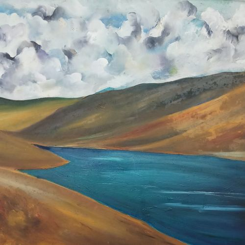 chandra taal, 35 x 22 inch, ruchira jamwal,landscape paintings,paintings for living room,canvas,oil,35x22inch,GAL029378045