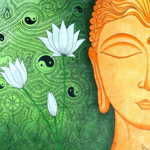 lord buddha -nirvana, 24 x 24 inch, colorful art arts and crafts,buddha paintings,paintings for living room,canvas,acrylic color,24x24inch,GAL0393805