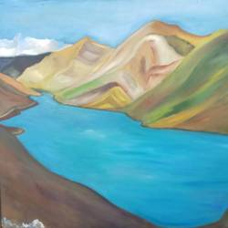 the absolute bliss, 38 x 29 inch, ruchira jamwal,landscape paintings,paintings for living room,canvas,oil,38x29inch,GAL029378052