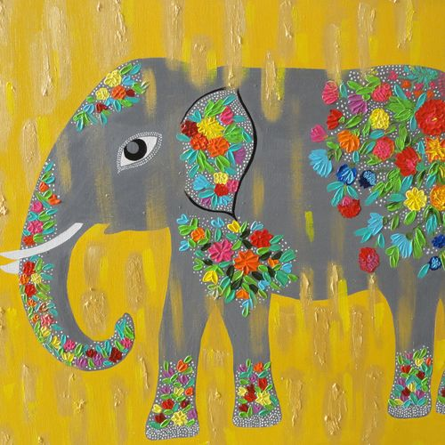 elephant, 30 x 24 inch, amita dand,wildlife paintings,paintings for living room,canvas board,acrylic color,30x24inch,GAL014678055