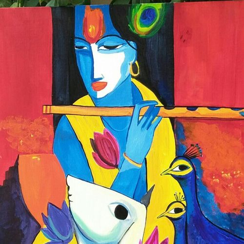 krishna, 18 x 24 inch, chandni mishra,paintings,radha krishna paintings,paintings for living room,canvas,acrylic color,18x24inch,GAL013998081,krshna,lordkrishna,flute,love,music,peacock,
