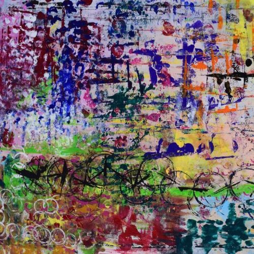 the bicycle fair, 36 x 24 inch, aatmica ojha,abstract paintings,paintings for living room,canvas,acrylic color,36x24inch,GAL026898082