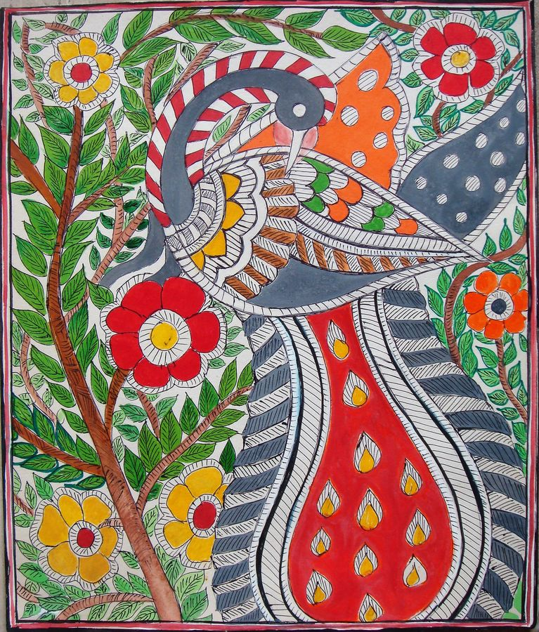 madhubani peacock, 13 x 11 inch, padmini abrol,folk art paintings,paintings for living room,madhubani paintings,cartridge paper,poster color,13x11inch,GAL031498083,peacock,colorful,flower,leaves
