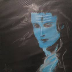 shiva, 8 x 12 inch, sudhanshu nair,portraiture,paintings for living room,lord shiva paintings,paper,pastel color,8x12inch,GAL033828088