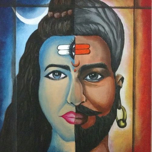 shiv...ji, 10 x 12 inch, rupalee pardeshi,figurative paintings,paintings for living room,lord shiva paintings,canvas board,acrylic color,10x12inch,GAL033858096
