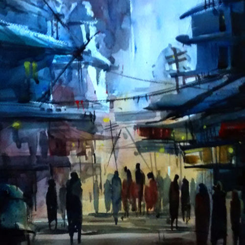 blue city night, 21 x 15 inch, sankar thakur,landscape paintings,paintings for living room,fabriano sheet,watercolor,21x15inch,GAL0781
