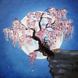 tree and moon, 5 x 3 inch, anu  kumar,landscape paintings,paintings for bedroom,canvas,acrylic color,5x3inch,GAL033888103