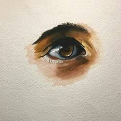 the eye, 10 x 10 inch, anu  kumar,photorealism paintings,paintings for living room,thick paper,enamel color,10x10inch,GAL033888105