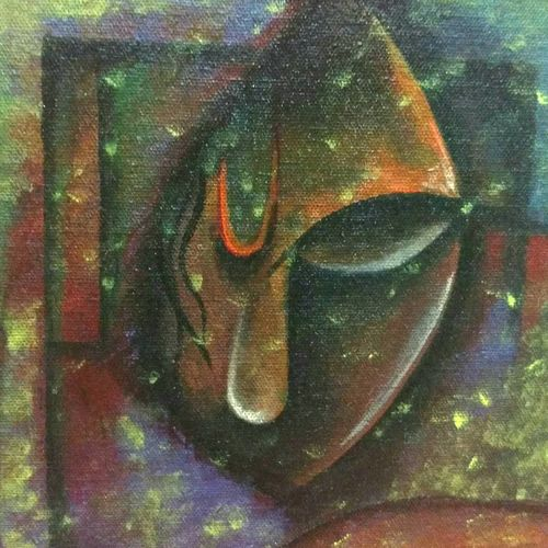 dark silence, 8 x 8 inch, rupalee pardeshi,abstract paintings,paintings for living room,canvas board,acrylic color,8x8inch,GAL033858108