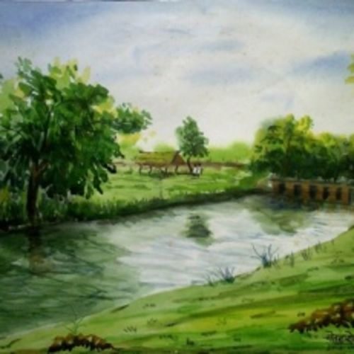 patibimb, 14 x 11 inch, chetan shelar,landscape paintings,paintings for living room,ivory sheet,watercolor,14x11inch,GAL032688115