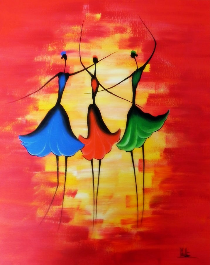 dancing girls, 18 x 24 inch, colorful art arts and crafts,art deco paintings,paintings for living room,love paintings,canvas,acrylic color,18x24inch,GAL0393812