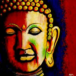 buddha, 24 x 24 inch, alok pandey,buddha paintings,paintings for living room,paintings,canvas board,acrylic color,24x24inch,religious,peace,meditation,meditating,gautam,goutam,buddha,colourful,face,side face,smiling,GAL033938120