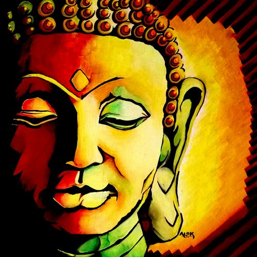 lord buddha, 24 x 24 inch, alok pandey,buddha paintings,paintings for living room,canvas board,acrylic color,24x24inch,religious,peace,meditation,meditating,gautam,goutam,buddha,orange,GAL033938121