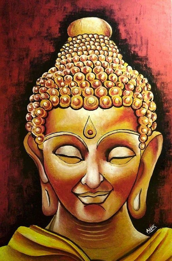 buddha, 24 x 36 inch, alok pandey,buddha paintings,paintings for office,canvas,acrylic color,24x36inch,religious,peace,meditation,meditating,gautam,goutam,buddha,smiling,brown,GAL033938124