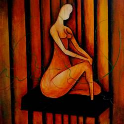 alone thought, 30 x 20 inch, alok pandey,figurative paintings,paintings for living room,canvas board,acrylic color,30x20inch,GAL033938125